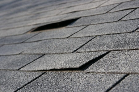 roofing trouble - damage to shingles that needs repair and maintenance